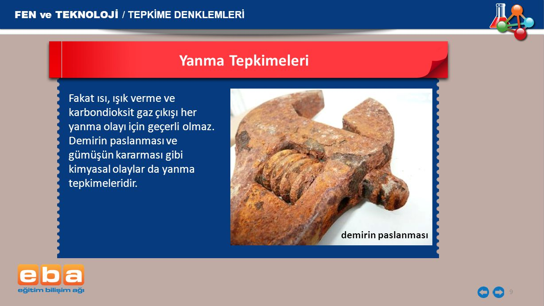 Yanma Tepkimeleri FEN ve TEKNOLOJİ / TEPKİME DENKLEMLERİ