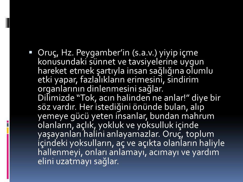 Oruç, Hz. Peygamber'in (s. a. v