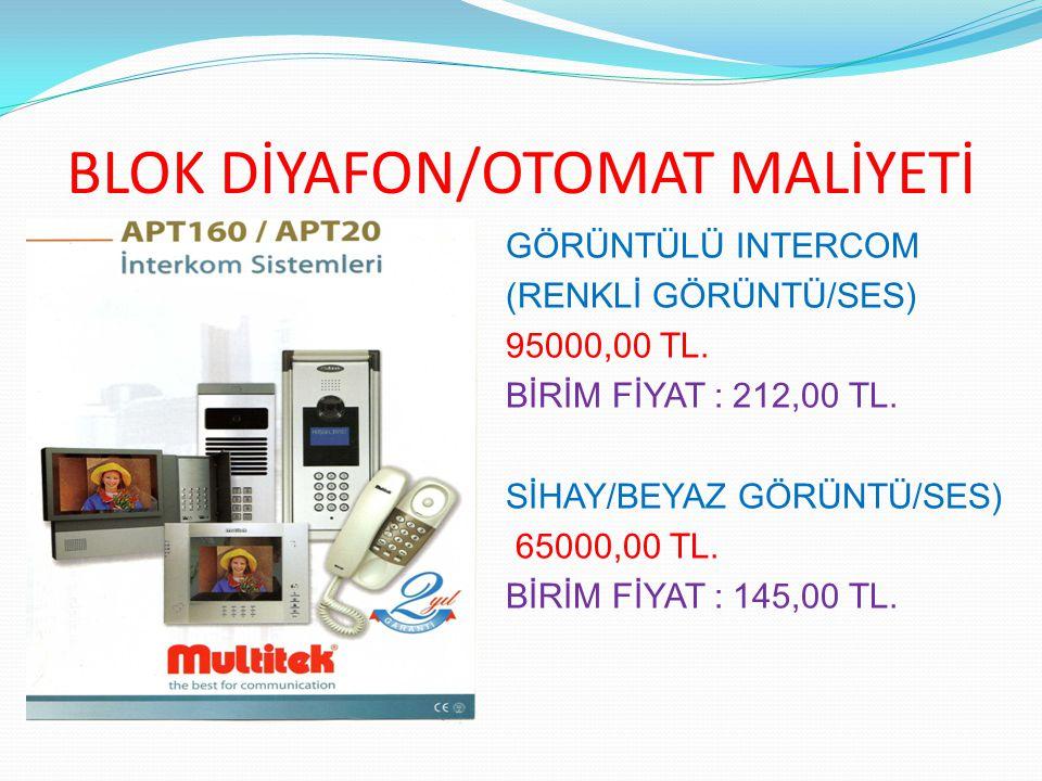 BLOK DİYAFON/OTOMAT MALİYETİ