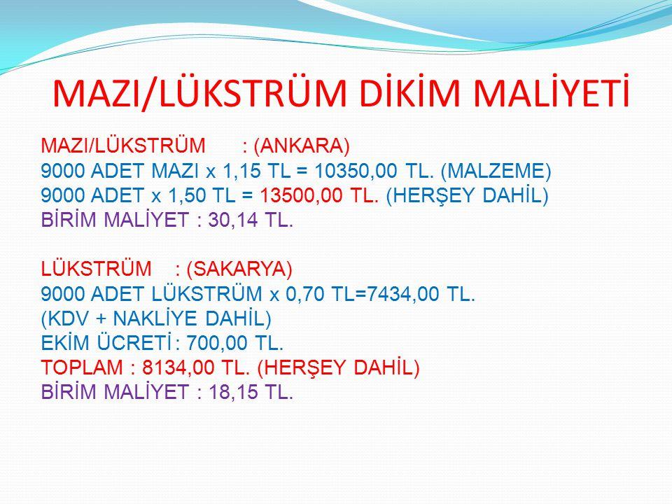 MAZI/LÜKSTRÜM DİKİM MALİYETİ