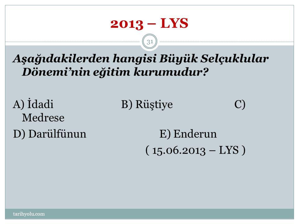 2013 – LYS Aşağıdakilerden hangisi Büyük Selçuklular Dönemi'nin eğitim kurumudur