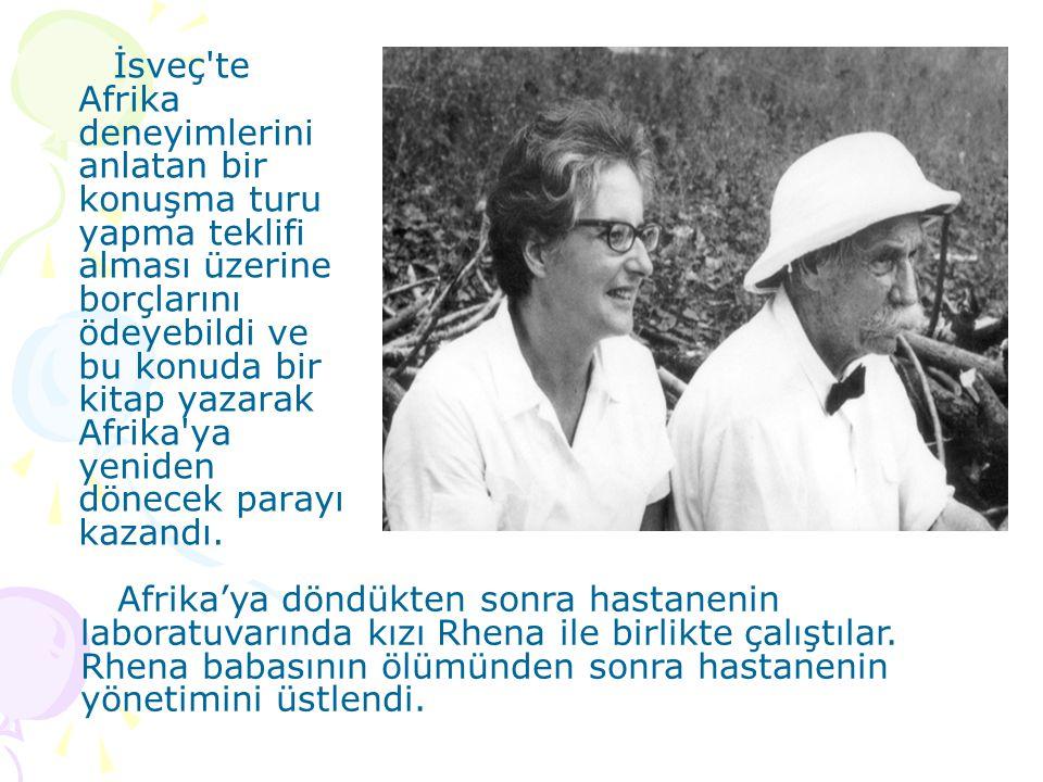 İsveç te Afrika deneyimlerini anlatan bir konuşma turu yapma teklifi alması üzerine borçlarını ödeyebildi ve bu konuda bir kitap yazarak Afrika ya yeniden dönecek parayı kazandı.