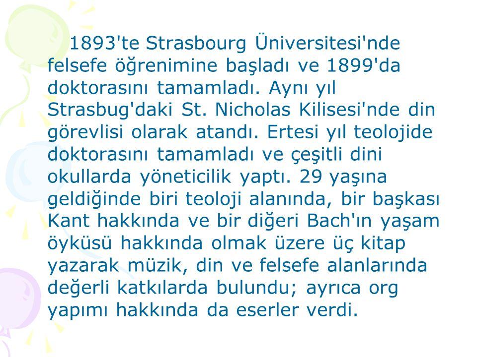 1893 te Strasbourg Üniversitesi nde felsefe öğrenimine başladı ve 1899 da doktorasını tamamladı.