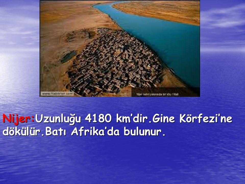 Nijer:Uzunluğu 4180 km'dir. Gine Körfezi'ne dökülür