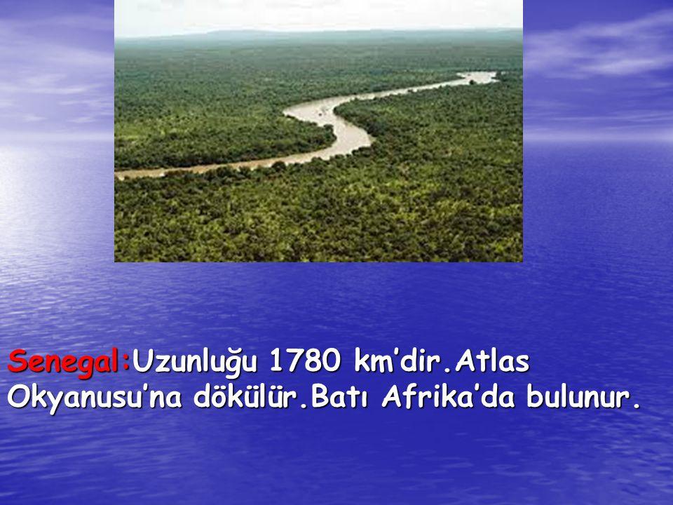 Senegal:Uzunluğu 1780 km'dir. Atlas Okyanusu'na dökülür