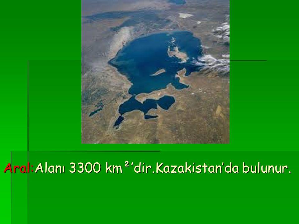 Aral:Alanı 3300 km²'dir.Kazakistan'da bulunur.