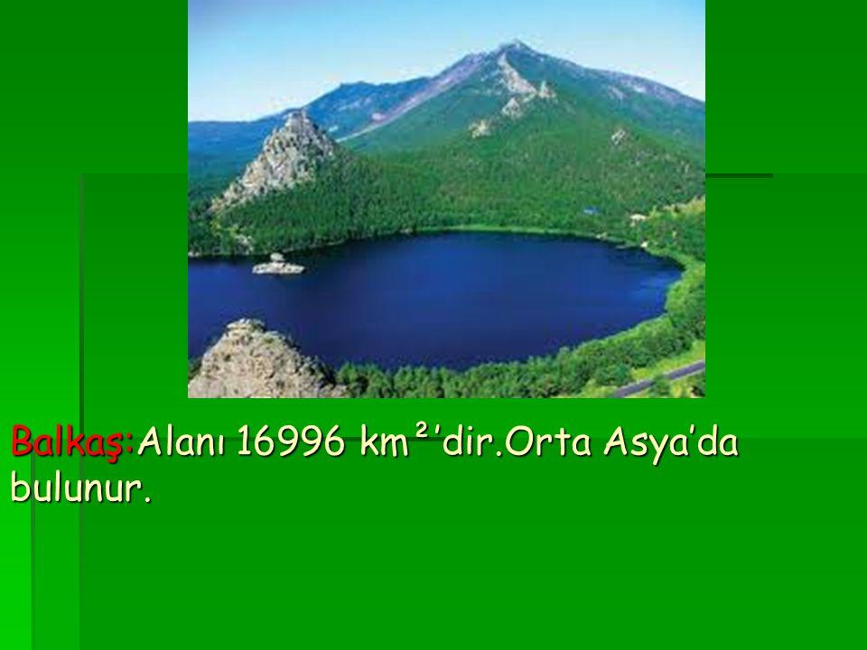 Balkaş:Alanı 16996 km²'dir.Orta Asya'da bulunur.