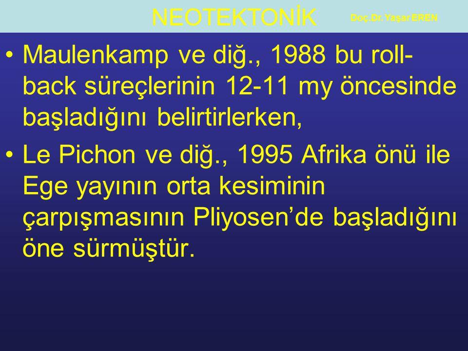Doç.Dr. Yaşar EREN Maulenkamp ve diğ., 1988 bu roll-back süreçlerinin 12-11 my öncesinde başladığını belirtirlerken,