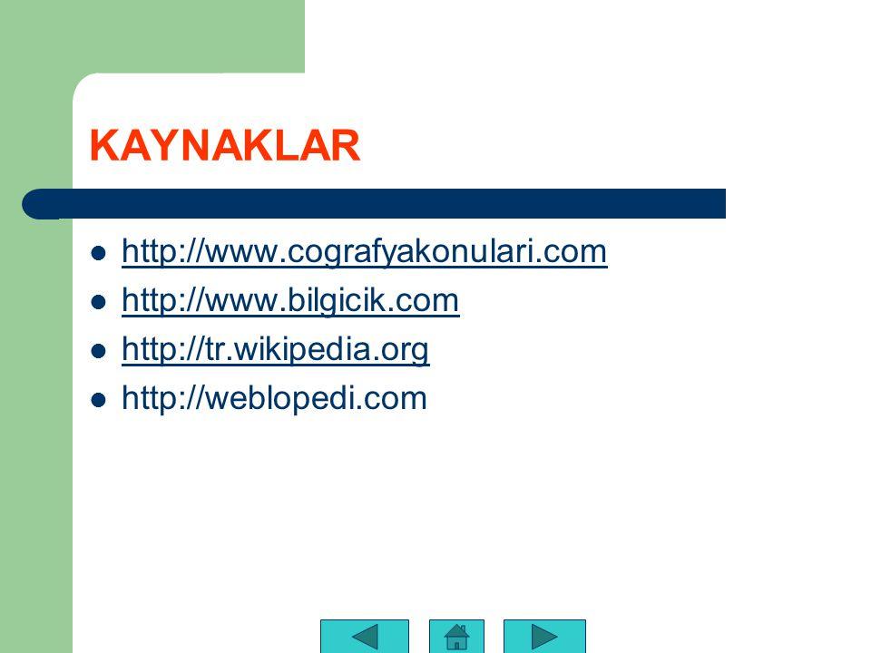 KAYNAKLAR http://www.cografyakonulari.com http://www.bilgicik.com