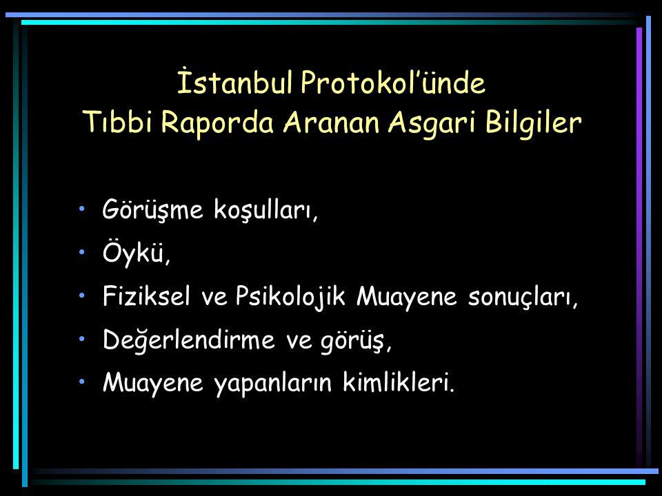 İstanbul Protokol'ünde Tıbbi Raporda Aranan Asgari Bilgiler