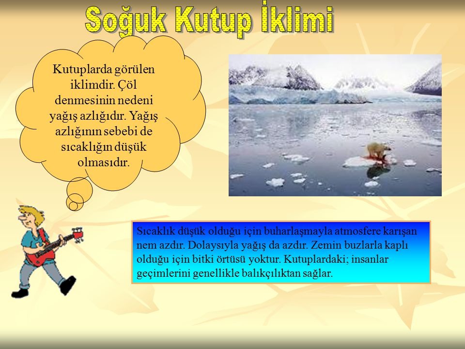 Soğuk Kutup İklimi Kutuplarda görülen iklimdir. Çöl denmesinin nedeni yağış azlığıdır. Yağış azlığının sebebi de sıcaklığın düşük olmasıdır.