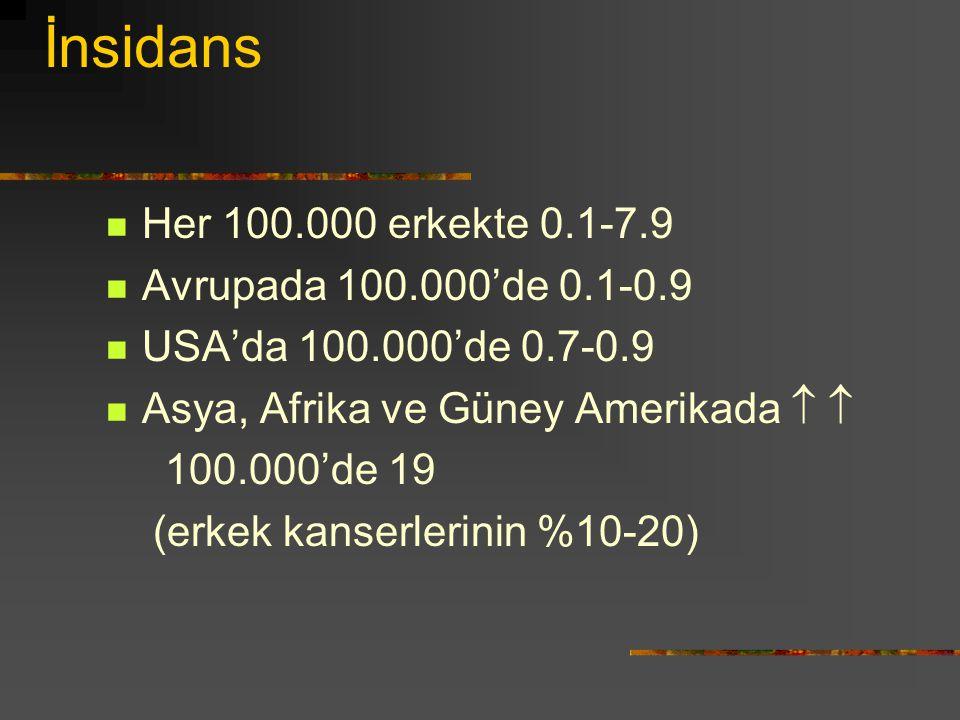 İnsidans Her 100.000 erkekte 0.1-7.9 Avrupada 100.000'de 0.1-0.9
