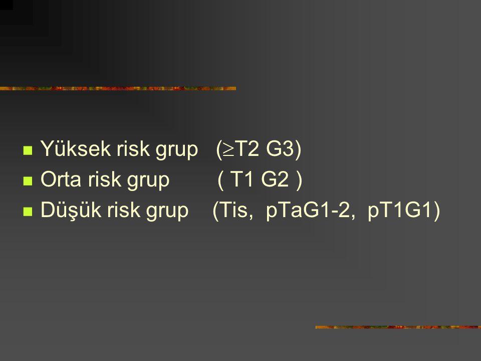 Yüksek risk grup (T2 G3) Orta risk grup ( T1 G2 ) Düşük risk grup (Tis, pTaG1-2, pT1G1)