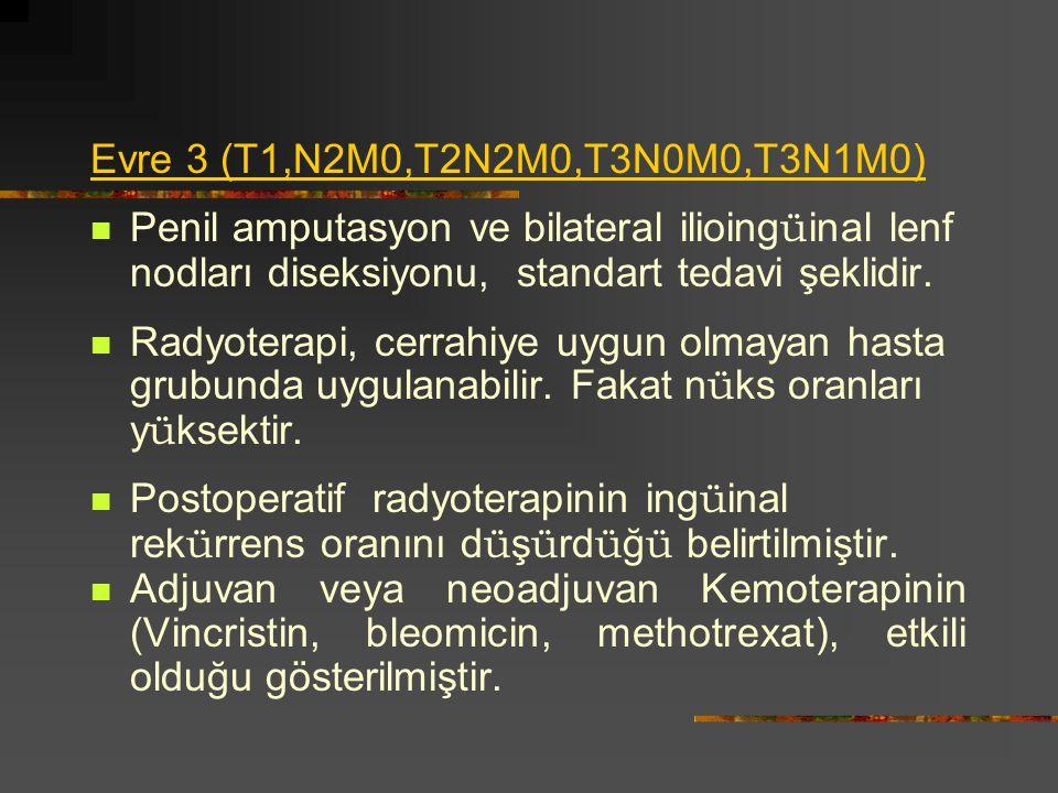 Evre 3 (T1,N2M0,T2N2M0,T3N0M0,T3N1M0) Penil amputasyon ve bilateral ilioingüinal lenf nodları diseksiyonu, standart tedavi şeklidir.