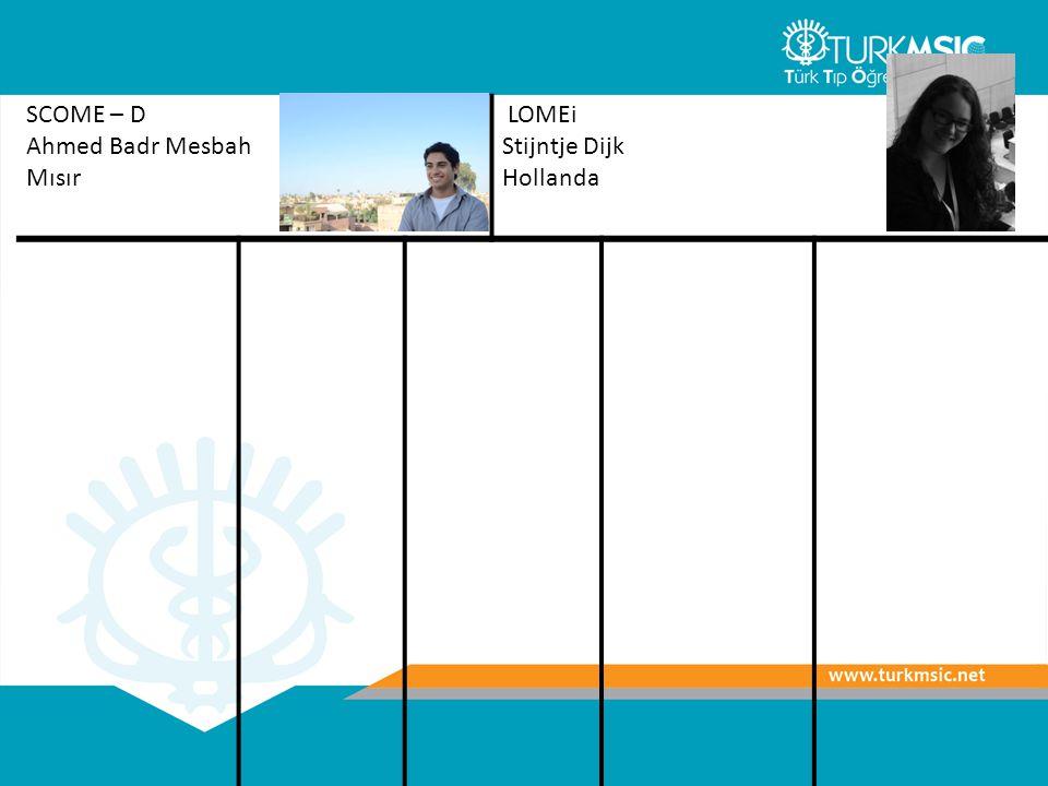SCOME – D Ahmed Badr Mesbah Mısır LOMEi Stijntje Dijk Hollanda