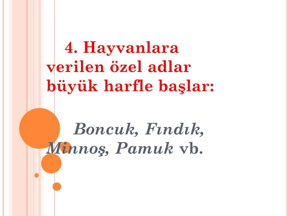 Boncuk, Fındık, Minnoş, Pamuk vb.