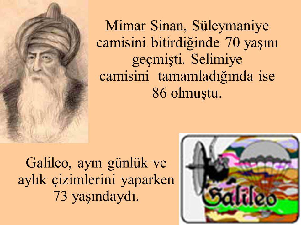 Galileo, ayın günlük ve aylık çizimlerini yaparken 73 yaşındaydı.