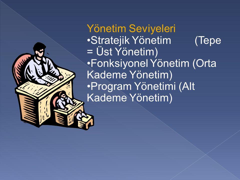Yönetim Seviyeleri Stratejik Yönetim (Tepe = Üst Yönetim) Fonksiyonel Yönetim (Orta Kademe Yönetim)