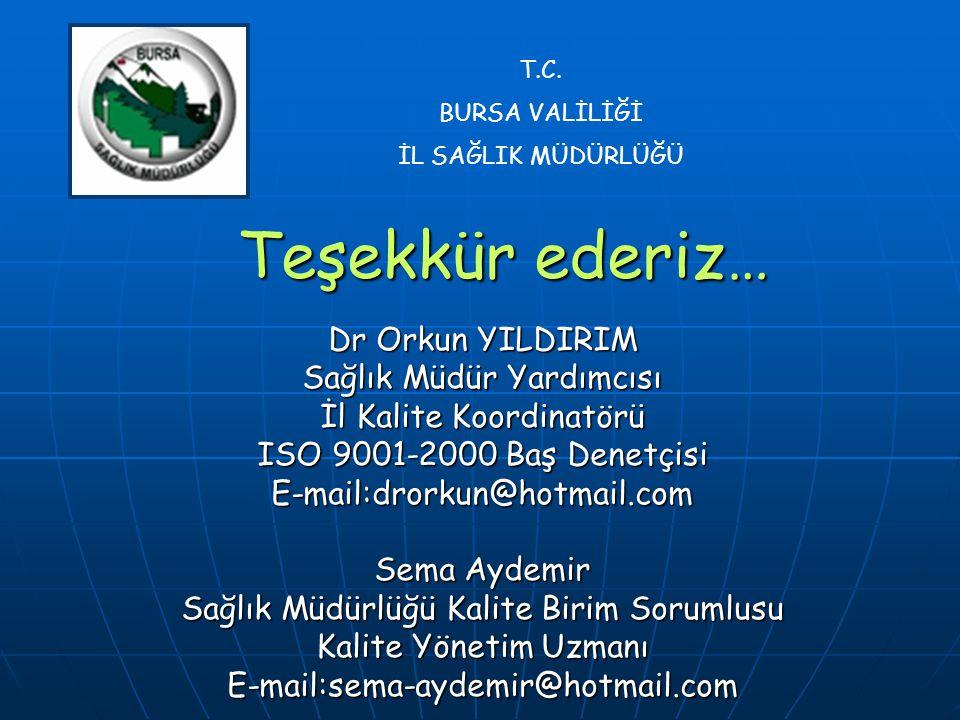 Teşekkür ederiz… Dr Orkun YILDIRIM Sağlık Müdür Yardımcısı