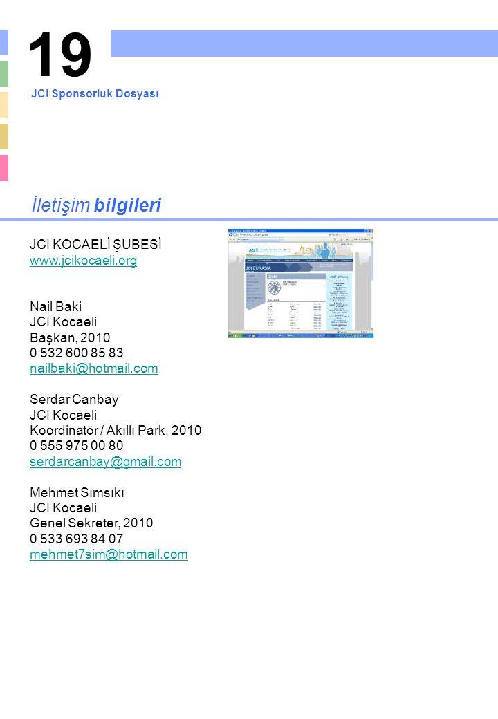 19 İletişim bilgileri JCI KOCAELİ ŞUBESİ www.jcikocaeli.org Nail Baki