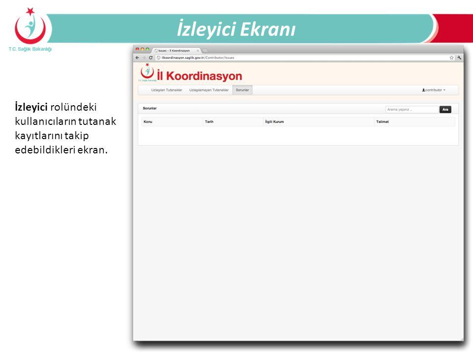 İzleyici Ekranı İzleyici rolündeki kullanıcıların tutanak kayıtlarını takip edebildikleri ekran.
