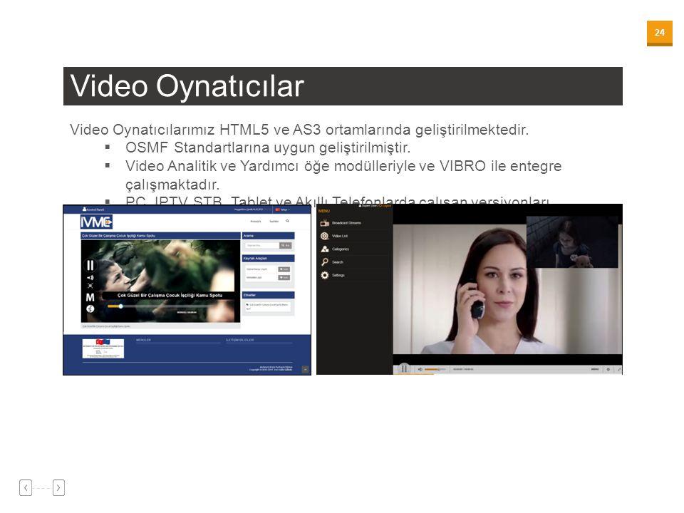 Video Oynatıcılar Video Oynatıcılarımız HTML5 ve AS3 ortamlarında geliştirilmektedir. OSMF Standartlarına uygun geliştirilmiştir.
