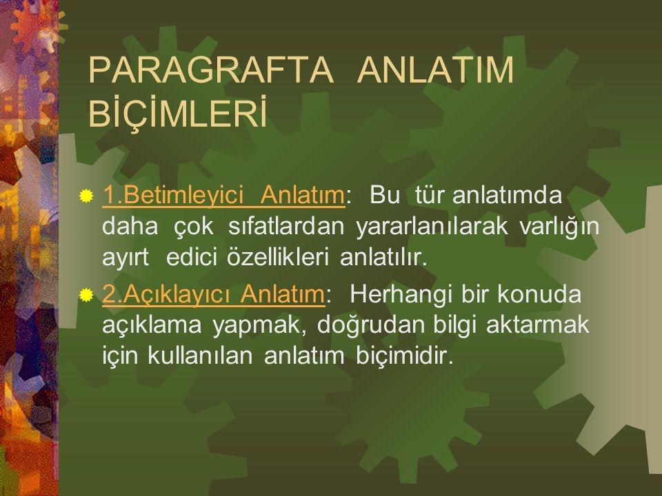 PARAGRAFTA ANLATIM BİÇİMLERİ