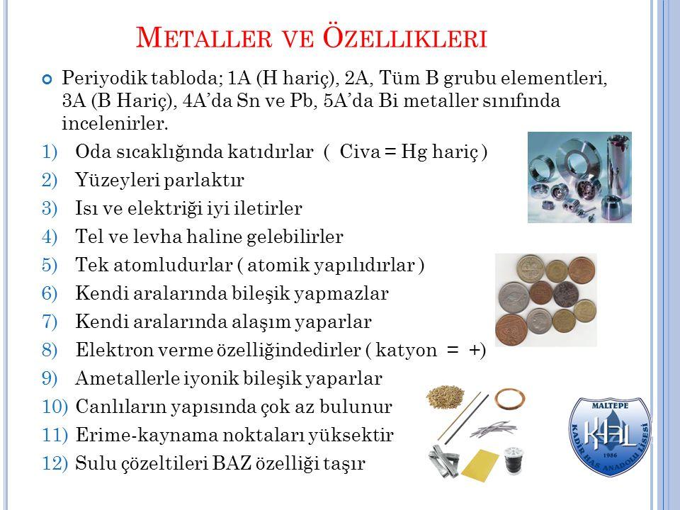 Metaller ve Özellikleri