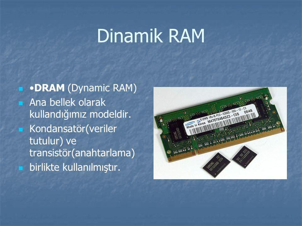 Dinamik RAM •DRAM (Dynamic RAM)