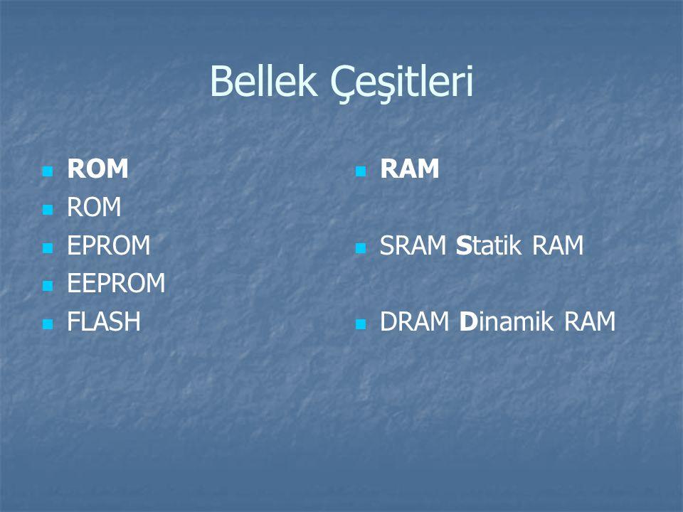Bellek Çeşitleri ROM EPROM EEPROM FLASH RAM SRAM Statik RAM