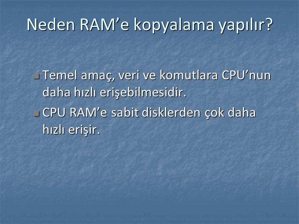 Neden RAM'e kopyalama yapılır