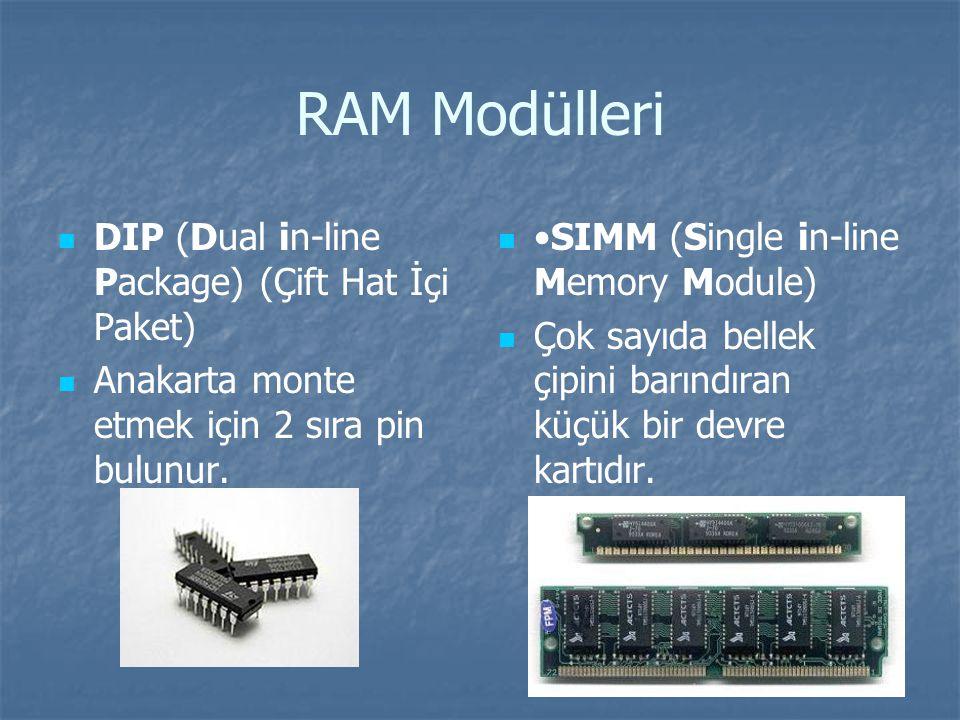 RAM Modülleri DIP (Dual in-line Package) (Çift Hat İçi Paket)