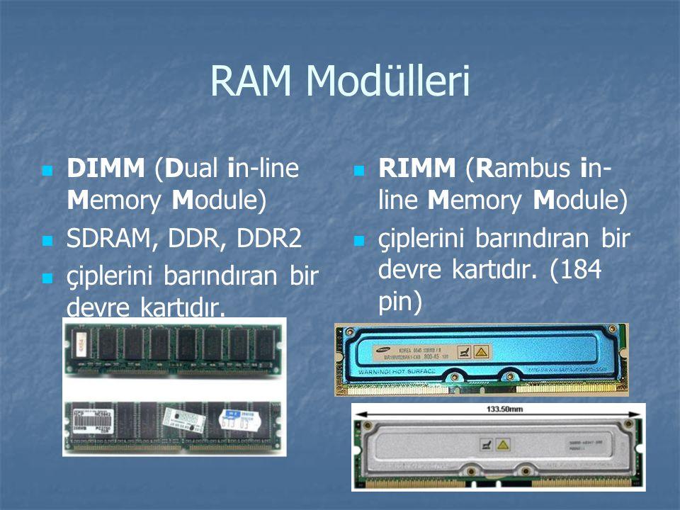 RAM Modülleri DIMM (Dual in-line Memory Module) SDRAM, DDR, DDR2