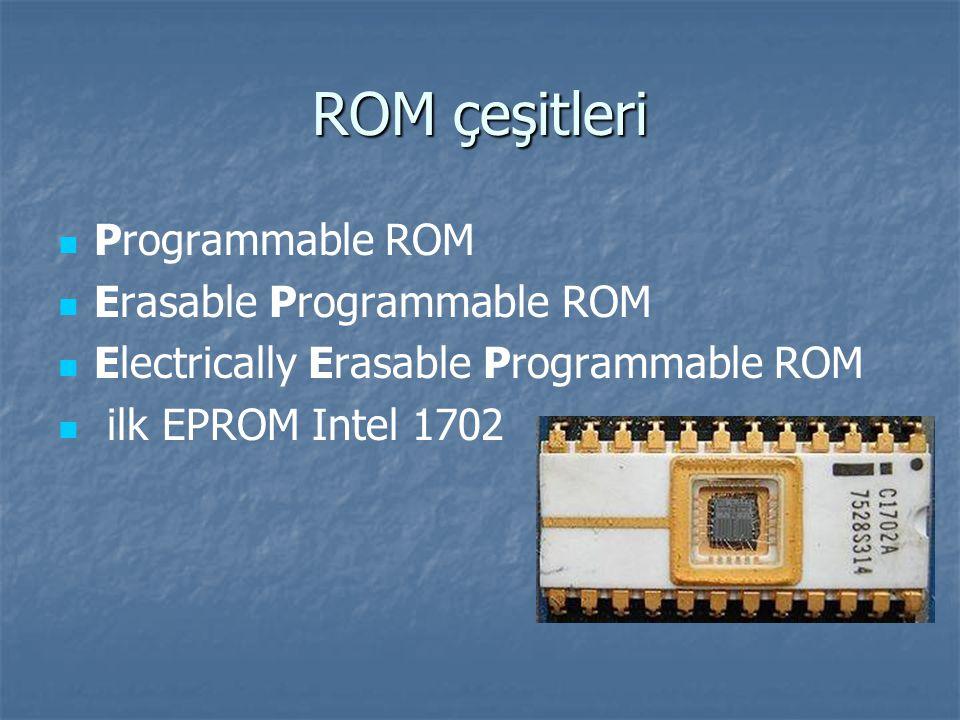 ROM çeşitleri Programmable ROM Erasable Programmable ROM