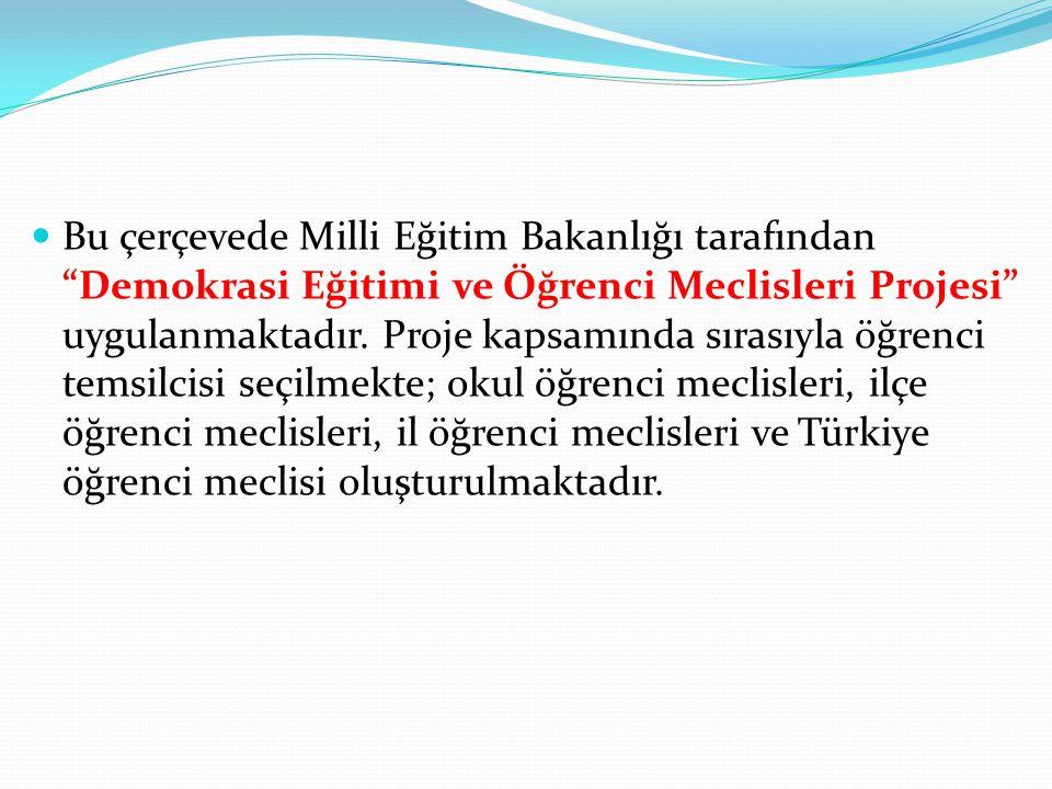 Bu çerçevede Milli Eğitim Bakanlığı tarafından Demokrasi Eğitimi ve Öğrenci Meclisleri Projesi uygulanmaktadır.