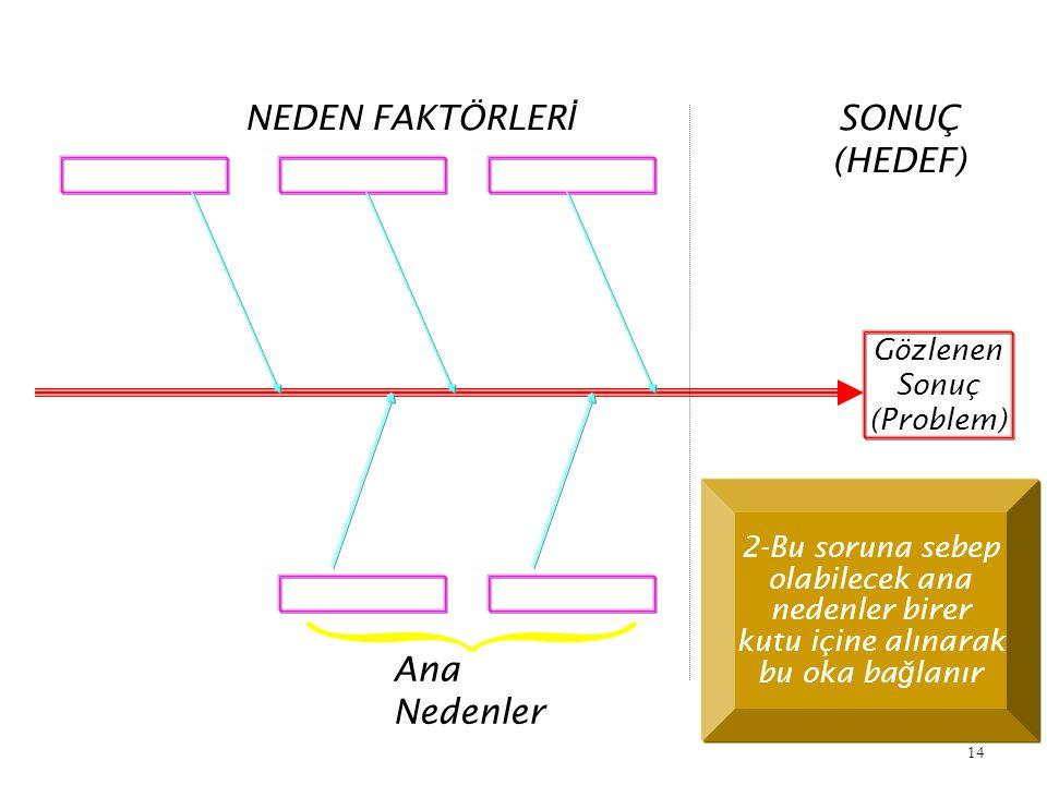 NEDEN FAKTÖRLERİ SONUÇ (HEDEF) Ana Nedenler Gözlenen Sonuç (Problem)