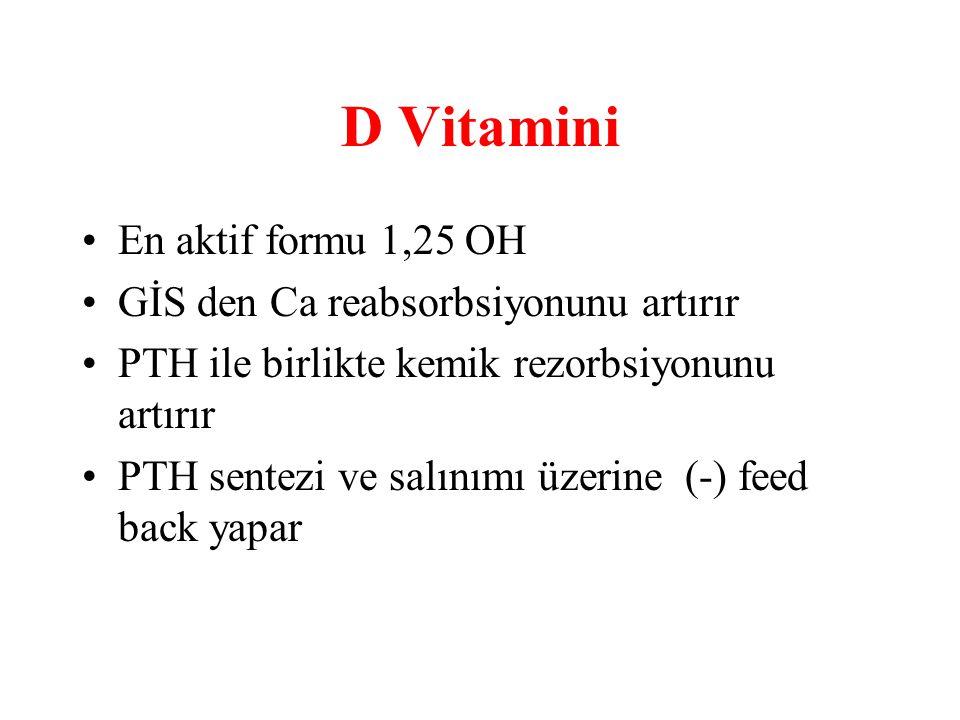 D Vitamini En aktif formu 1,25 OH GİS den Ca reabsorbsiyonunu artırır