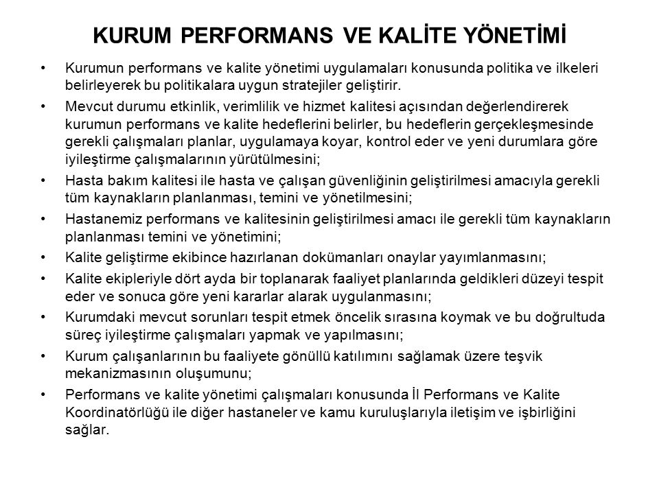 KURUM PERFORMANS VE KALİTE YÖNETİMİ