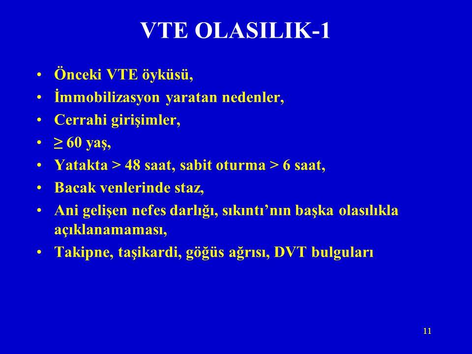 VTE OLASILIK-1 Önceki VTE öyküsü, İmmobilizasyon yaratan nedenler,