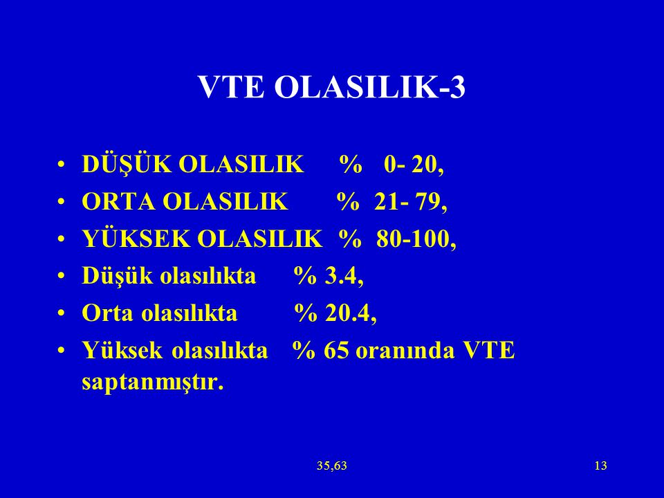 VTE OLASILIK-3 DÜŞÜK OLASILIK % 0- 20, ORTA OLASILIK % 21- 79,