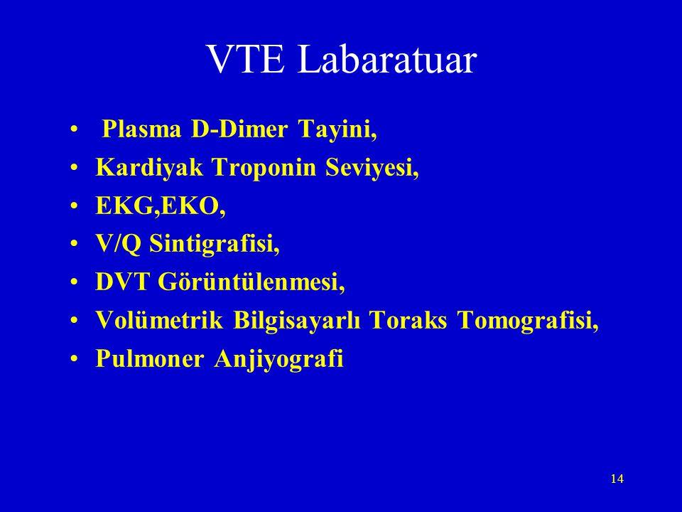 VTE Labaratuar Plasma D-Dimer Tayini, Kardiyak Troponin Seviyesi,