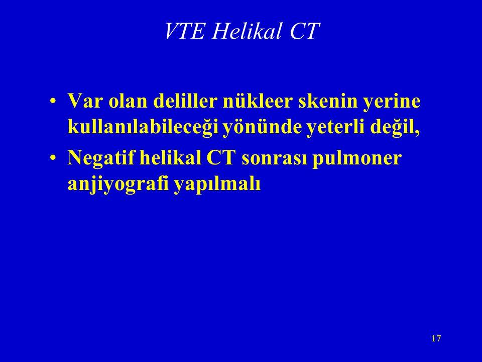 VTE Helikal CT Var olan deliller nükleer skenin yerine kullanılabileceği yönünde yeterli değil,