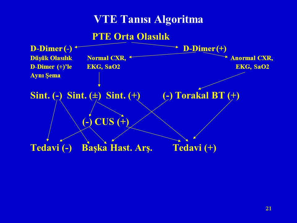 VTE Tanısı Algoritma PTE Orta Olasılık