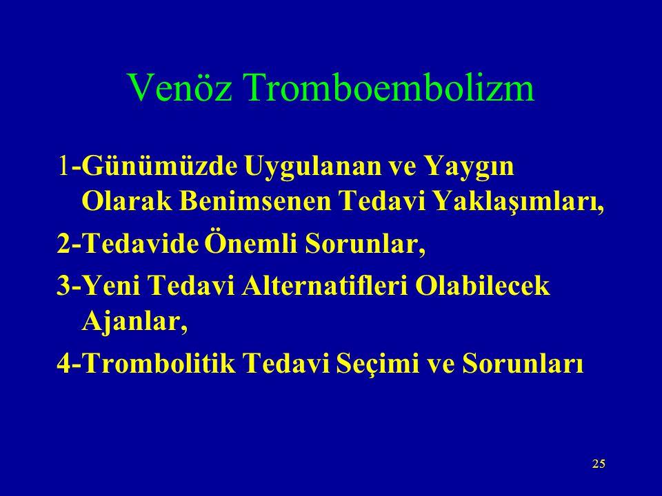 Venöz Tromboembolizm 1-Günümüzde Uygulanan ve Yaygın Olarak Benimsenen Tedavi Yaklaşımları, 2-Tedavide Önemli Sorunlar,