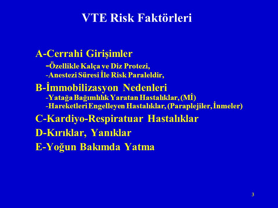 VTE Risk Faktörleri