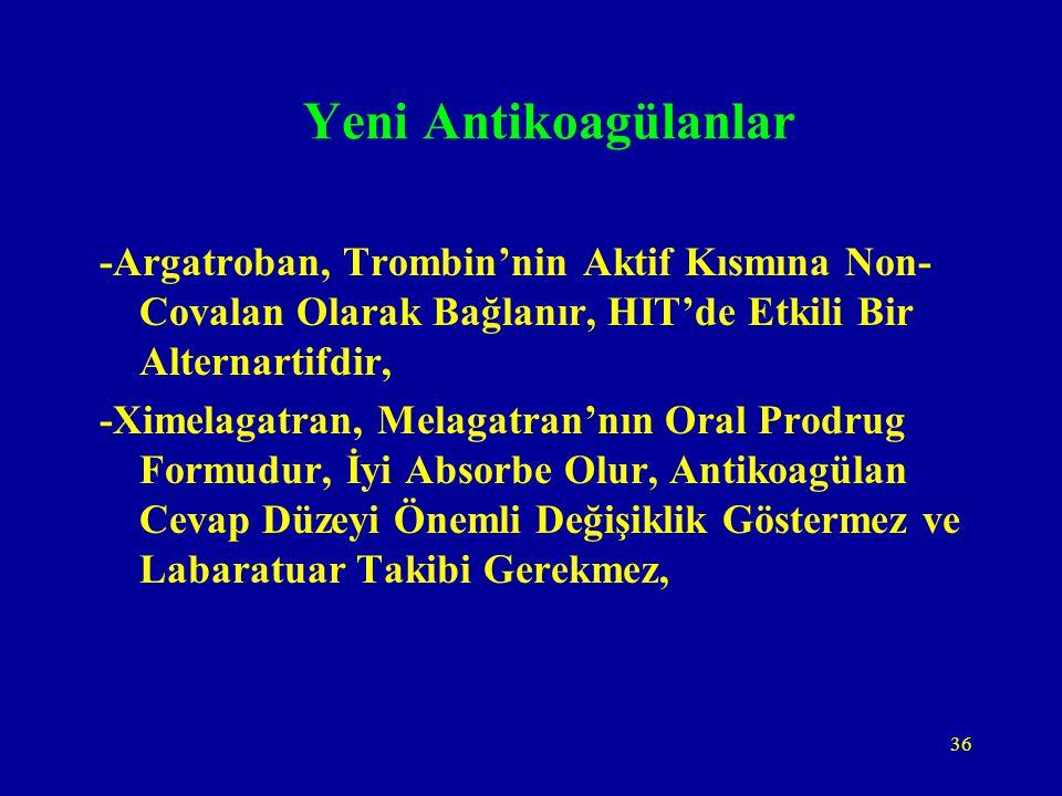 Yeni Antikoagülanlar -Argatroban, Trombin'nin Aktif Kısmına Non-Covalan Olarak Bağlanır, HIT'de Etkili Bir Alternartifdir,