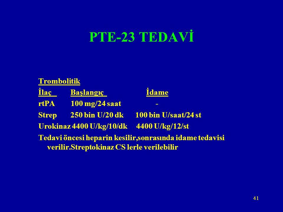 PTE-23 TEDAVİ Trombolitik İlaç Başlangıç İdame rtPA 100 mg/24 saat -