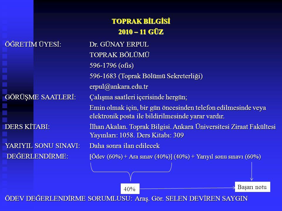 ÖĞRETİM ÜYESİ: Dr. GÜNAY ERPUL TOPRAK BÖLÜMÜ 596-1796 (ofis)