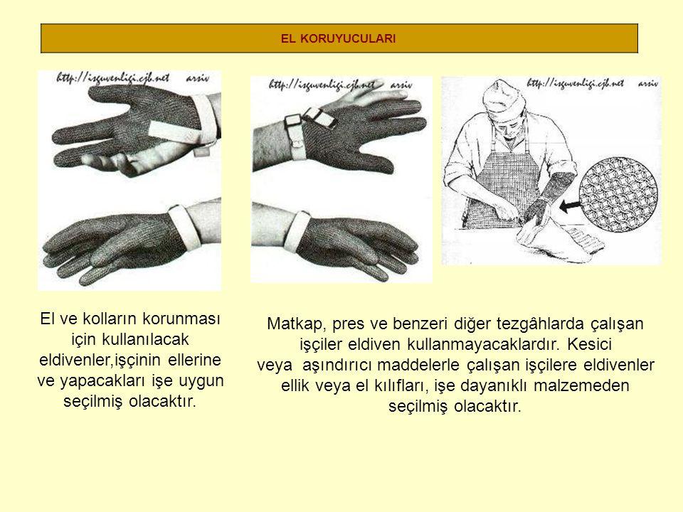 EL KORUYUCULARI El ve kolların korunması için kullanılacak eldivenler,işçinin ellerine ve yapacakları işe uygun seçilmiş olacaktır.