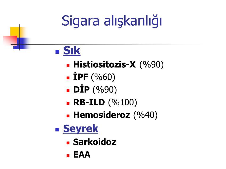Sigara alışkanlığı Sık Seyrek Histiositozis-X (%90) İPF (%60)